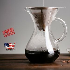 Pour-Over-Coffee-Maker-4-Cup-Glass-Carafe-amp-Stainless-Steel-Reusable-Cone-Filter