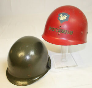 VIETNAM-WAR-US-ARMY-M1-FIRE-BRIGADE-COMBAT-HELMET-WITH-RED-LINER-REF-18