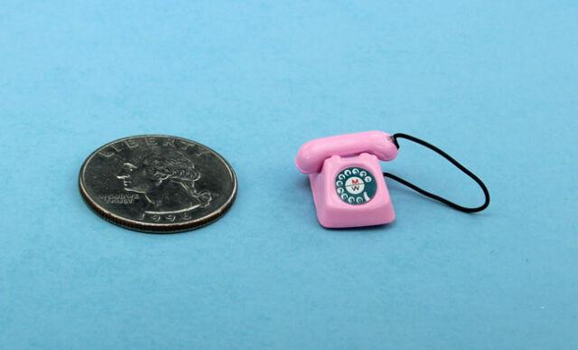 Retro Telephone Dollhouse Miniature DIY Doll House 1:12 Decor Scale Red//Bla P0U1