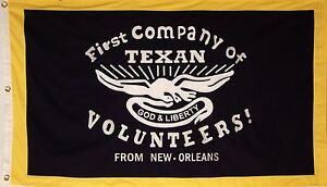 HEAVy COTTON 1ST CO. OF TEXAN VOLUNTEERS FROM NEW ORLEANS - TEXAS REPUBLIC FLAG