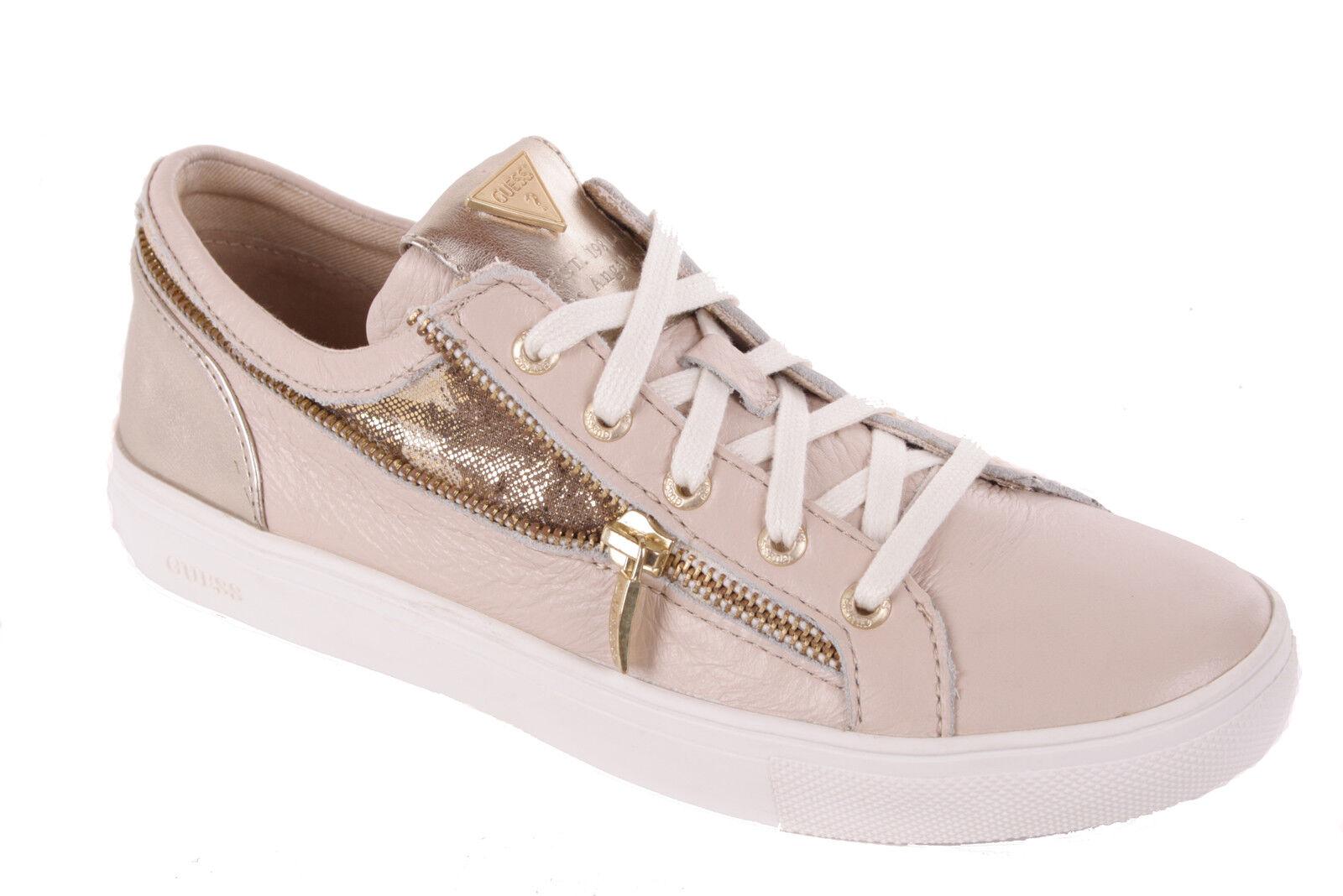 Guess Femmes Sneakers à Lacets Cuir Beige