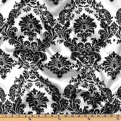 "10 Yards 60"" Damask Printed Satin Fabric 100% Polyester Charmeuse Draping Dress"