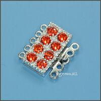 925 Sterling Silver 5 Strand Rectangle Box Clasp W/ Cz Orange 51478