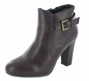 F5R947 *SALE!* Great Price Ladies Spot On Burgundy PU Ankle Boots