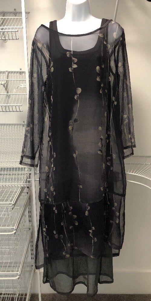 NEW women Jessica Vintage Sz 1 Grey Floral Long Sleeve Dress. DJ 101