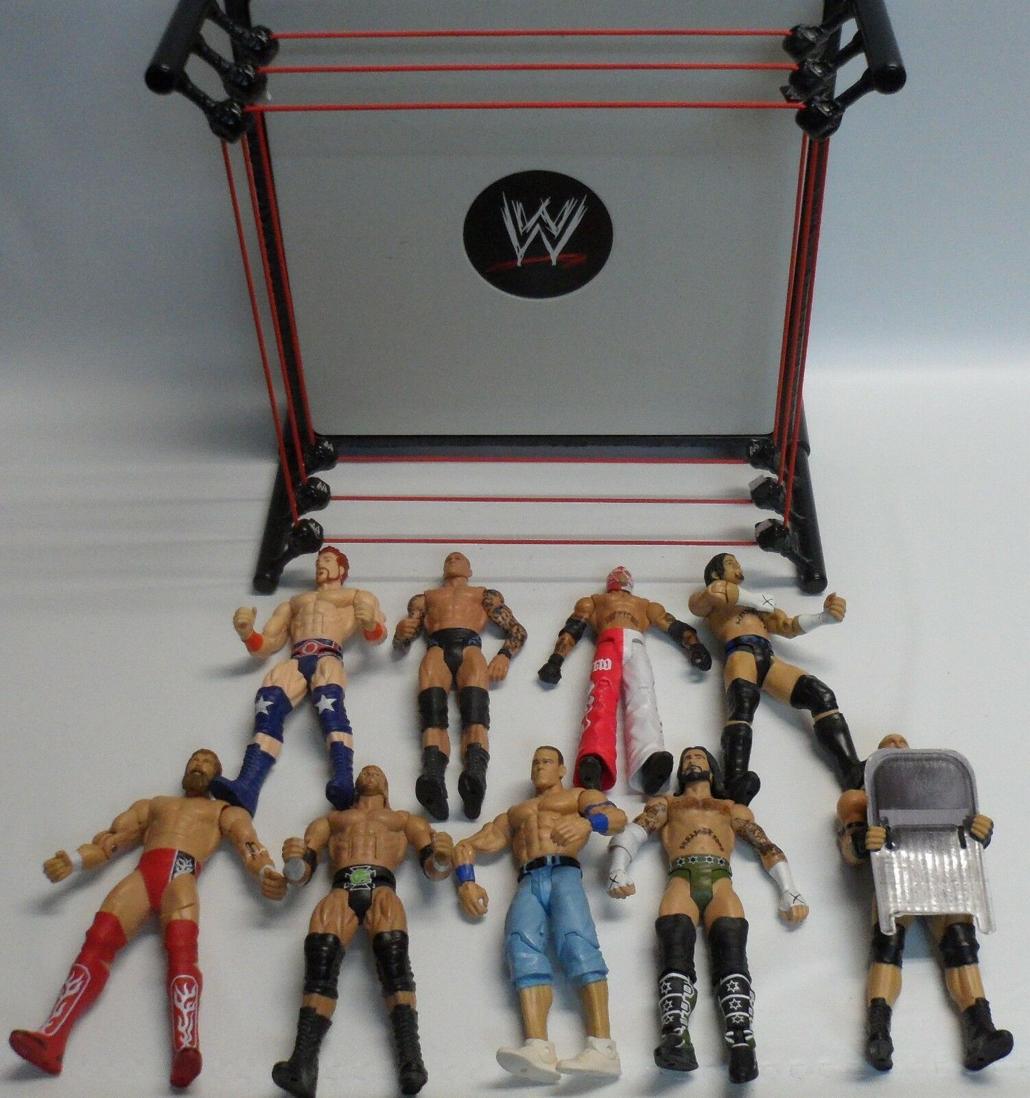 WWE Mattel RAW Wrestling Ring With WWE Lot Of 9 Mattel Figures Rey Mysterio Cena