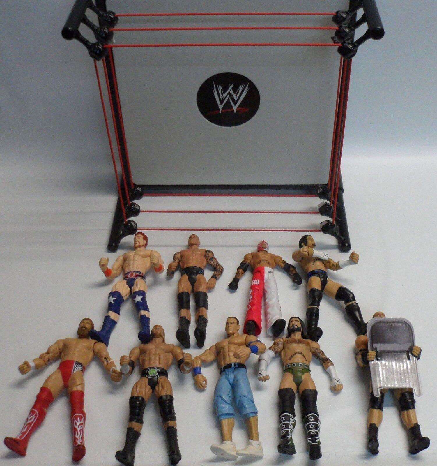 WWE Mattel Raw Lucha Libre Anillo con WWE Lote de 9 Figuras Mattel Rey Mysterio cena