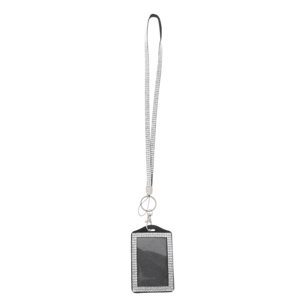 Porte-Badges avec Cordon Tour de Cou Bling Cristal - pour L'École, Le Bureau,