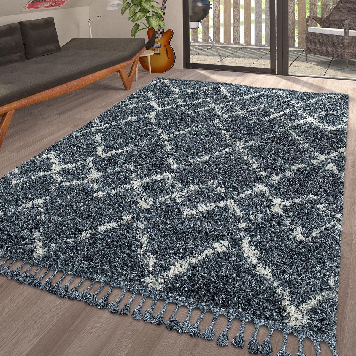 Moderne Hochflor Blau Wohnzimmer Teppich Geometrisches Karo Muster ...