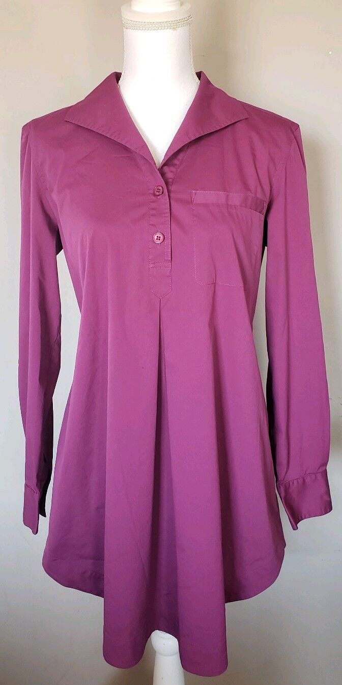 Lafayette 148 Women's Purple Shirtdress Tunic Long Sleeve size S