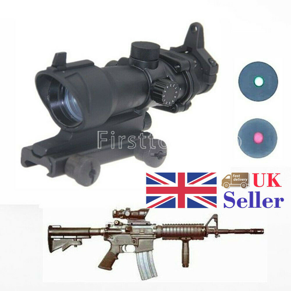 1x32 Red Green Dot Tactical Illumination ACOG Style Rifle Sight Scope Airsoft A+