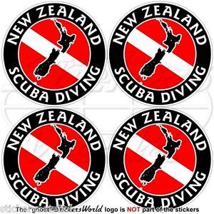 """NEW ZEALAND SCUBA DIVING Flag-Map Shape Circular Vinyl Sticker 4/"""" Decal 100mm"""