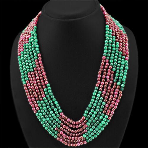 Superbe Qualité 588.00 cts Natural Red Ruby /& vert émeraude 7 Ligne De Perles Collier
