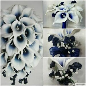 Details About Navy Blue Ivory Calla Lily Bridal Wedding Bouquet