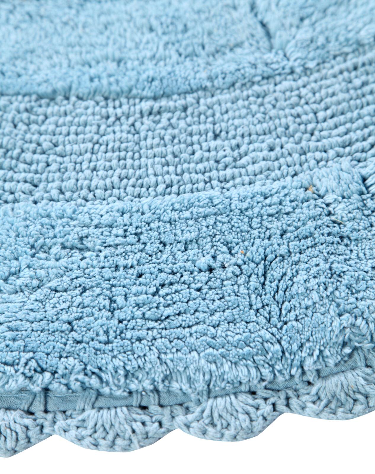 Bath Rug Cotton 36 Inch Round, Reversible, Arctic Blau, Crochet Lace Border
