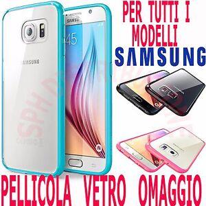 COVER-Pellicola-VETRO-Custodia-TRASPARENTE-SILICONE-sottile-per-Samsung-Galaxy