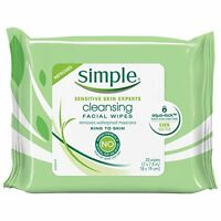 2 Pack Simple Cleansing Facial Wipes Sensitive Skin 25 Wipes Each on sale