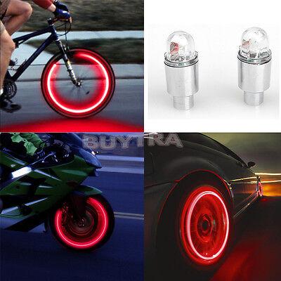 EW HOT Red LED Cycling Vogue Neon Car Wheel Tire Valve Caps Wheel Lights FG UK