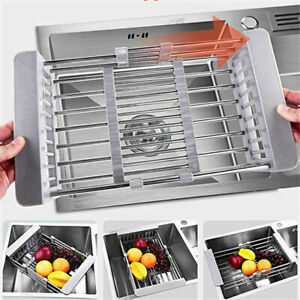Dish-Draining-Rack-Stainless-Steel-Plates-Drainer-Kitchen-Sink-Drying-Holder