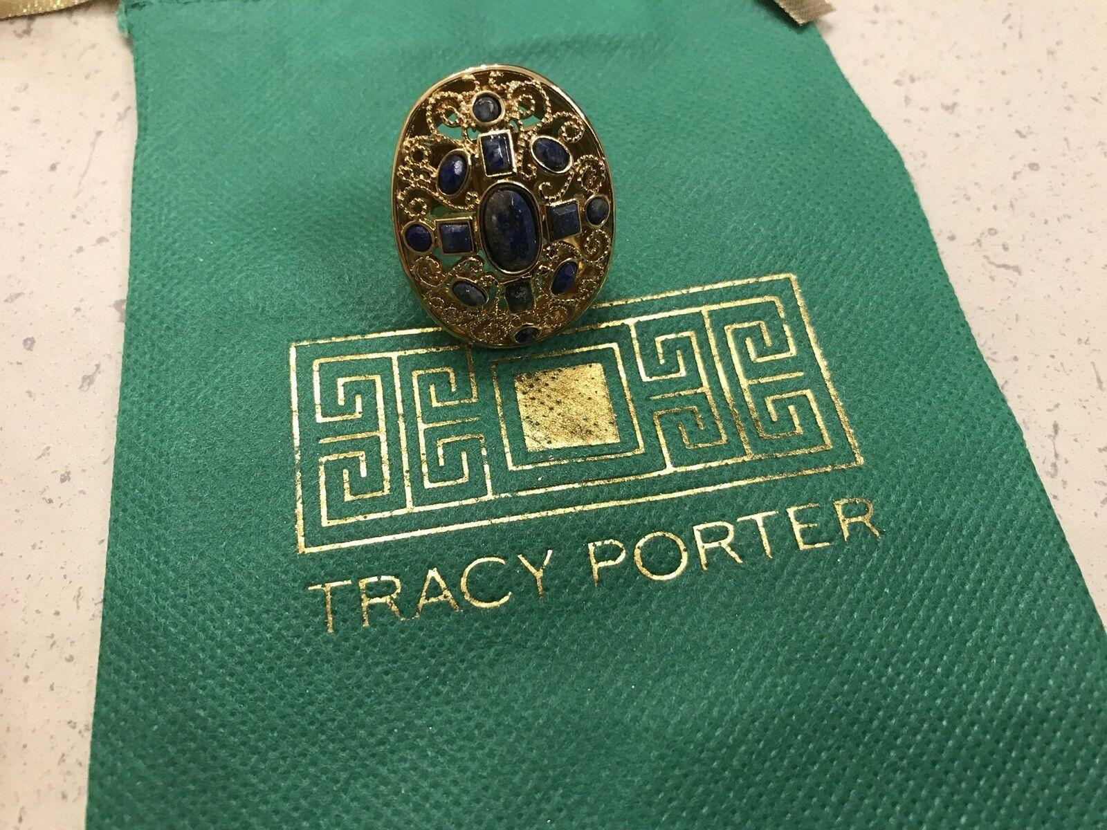 Tracy Porter Ring Beautiful Lapis 22 Karat gold Filled Statement Ring