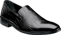 Stacy Adams Mens Shoes Galindo Black Crocodile Print Leather Loafer 24996-01