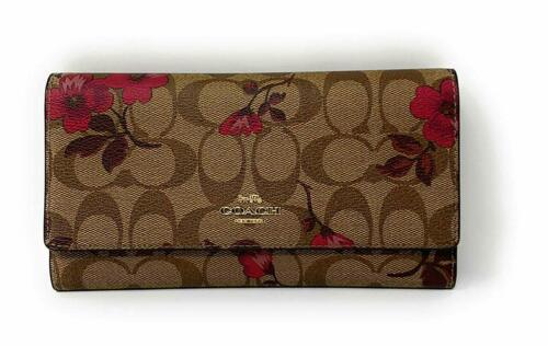 Coach Women/'s Trifold Wallet in Signature Canvas w// Victorian Floral Print