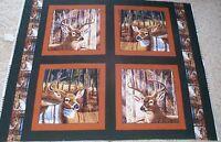 4 Deer Buckaroo Pillow Panels Fabric Cotton Wildlife Buck