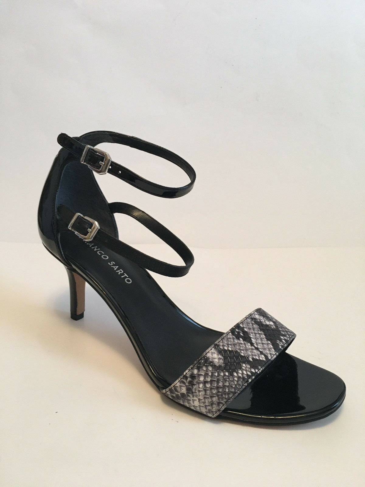 FRANCO SARTO Black patent snake high stiletto heel ankle strap sandals US Sz 10M
