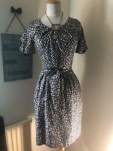 Whistles-Mono-Print-Silk-Summer-Tea-Dress-With-Tie-Belt-Size-8-Uk