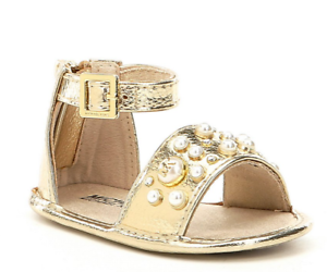 6e0702404037 Details about Michael Kors Girls  Baby Pennie Pearl Stud Detail Crib Shoe  Sandal Gold White