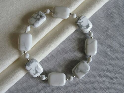 Limited Edition Gift White /& Grey Howlite /& Sterling Silver Beaded Bracelet