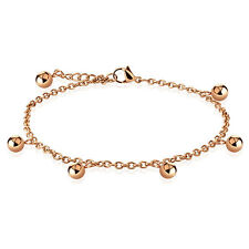 Multi Dangle Ball Beads Charm Rose Gold Stainless Steel Chain Anklet Bracelet