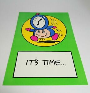 Vintage-Super-Mario-Brothers-Greeting-Card-Nintendo-1989-034-It-039-s-Time-034