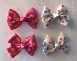 2X  Small Hot Pink Baby Bow Clip Toddler// Girl Hair Clip  HC229
