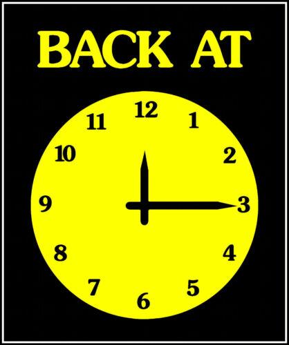 "A5 CLOCK COLOUR CHOICE /"" BACK AT /"" SHOP DOOR // WINDOW SIGN"