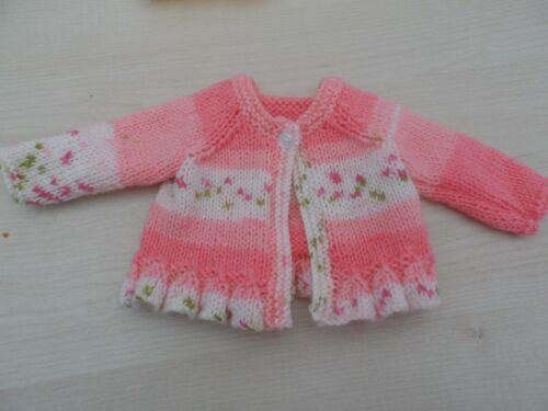 Hand knitted round neck cardigan,12-18 pink, lemon or lilac