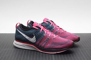 official photos 2bf2a a7aa2 Image is loading Nike-Flyknit-Trainer-Squadron-Blue-Pink-Flash-White-