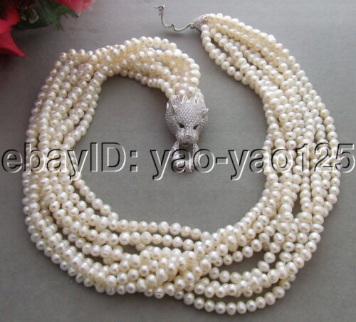 9Strds Pearl/&Rhinestone Clasp Necklace