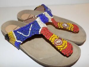 e3461fe25f16d Image is loading Maliparmi-Infrabijoux-Beaded-Thong-Softbed-Sandals-38
