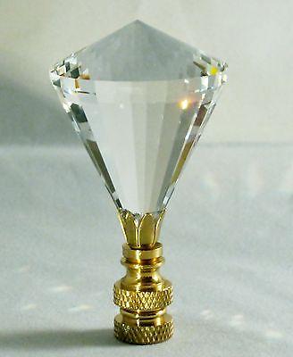 LAMP FINIAL-STUNNING LEADED CRYSTAL LAMP FINIAL-CLEAR DIAMOND-SATIN NICKEL FIN