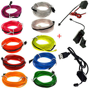 Glow-LED-Light-El-Wire-String-Strip-Rope-Car-Dance-Party-3V-12V-USB-Controller