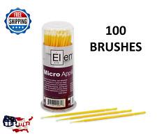 100 Element Micro Applicator Microapplicators Microbrush Dental Small Yellow