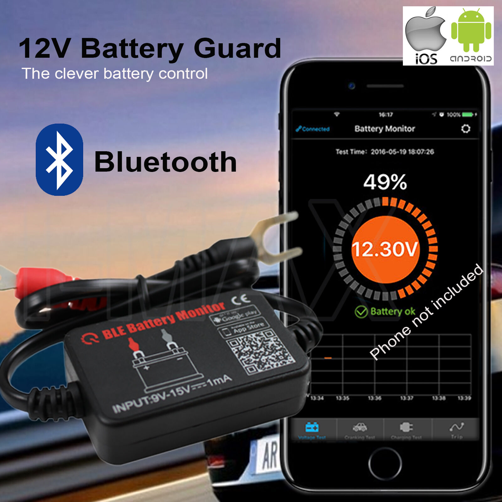 12v Voltage Vehicle Battery Monitor Bluetooth 40 Meter Tester Phone For Norton Secured Powered By Verisign