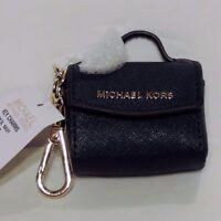 Michael Kors Key Handbag Charm Saffiano Leather Petite Pouch Bag Navy