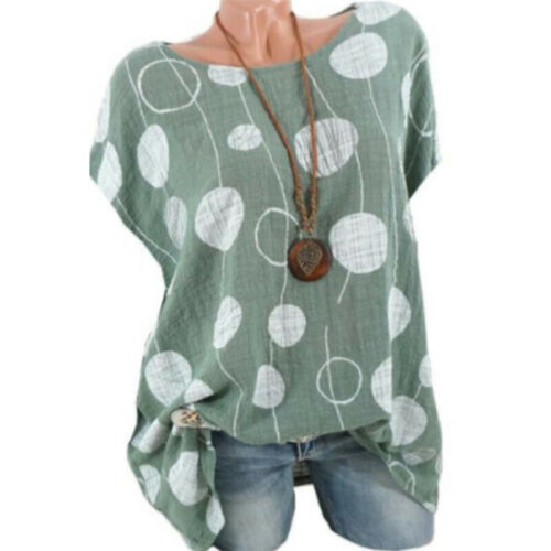 Plus Size 8-22 Womens Spotted Scoop Neck Tops Ladies Linen Loose T Shirt Blouse