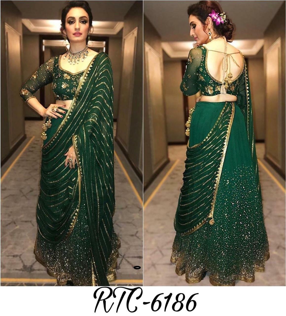 Georgette Embroidery work Lehenga Indian Design Pakistani Wedding Wear Choli