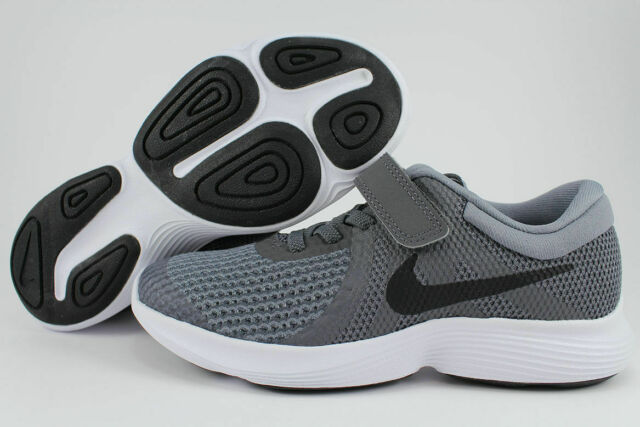 3e61f81ba24ae Nike Revolution 4 PSV Dark Gray black Strap Slip-on Boys Girls Kids ...