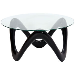 Details About High Gloss Fibre Glass Clear Round Coffee Table Black Red White
