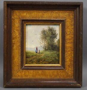 Dieter-Wege-1939-Ballenstedt-Spaziergaenger-in-Landschaft-Lupenmalerei
