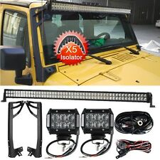 "52""Inch 300W+4""18W LED Light Bar+Mounting Brackets Fit For Jeep Wrangler JK/JKU"